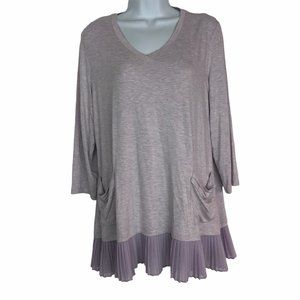 LOGO Lori Goldstein Mauve Tunic Blouse Shirt Top